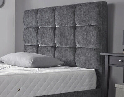 Bed Headboard 24  Dozen Cubes KINGSIZE | DOUBLE | SINGLE Crushed Velvet Chenille • 41.95£
