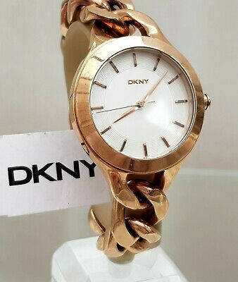 ** DKNY Ladies Watch Big Face Rose Gold Tone Chain Bracelet RRP£180 (533) • 39.99£