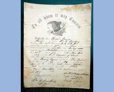 1863 Antique ORIG.CIVIL WAR N.G.S.N.Y. Discharge Document THEO CONROW  • 295$