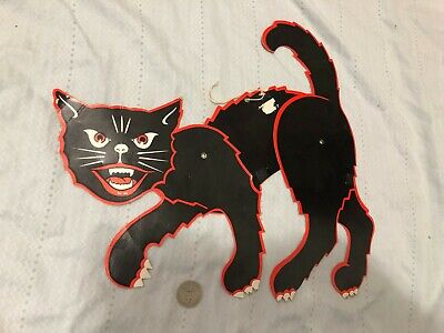 $ CDN46.23 • Buy Large Vintage Made In Japan Halloween Scary Cat Die Cut Articulated Decoration.