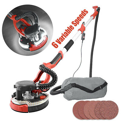 1250W Electric Telescopic Drywall Sander LED Dust Free Wall Ceiling Plaster Disc • 129.99£