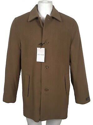 $179.99 • Buy NEW Cole Haan Mens Peacoat!  Small  Dark Camel  Wool & Cashmere  Leather Trim