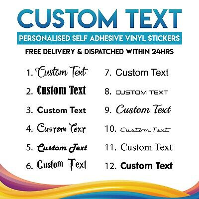 £2.99 • Buy 2x Personalised Custom Name Text Vinyl Stickers Transfers Decals Up To 20x9cm