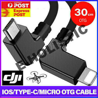 AU13.95 • Buy 90° Micro USB Cable Type C OTG 30cm For DJI Spark Mavic Pro IPad IPhone Android