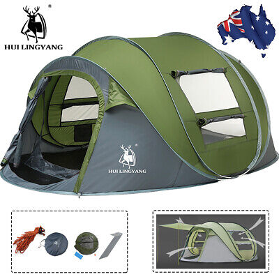 AU102.99 • Buy Instant Pop Up Tent Waterproof Camping 4-6 Person Family Tent Hiking Swag 2Layer