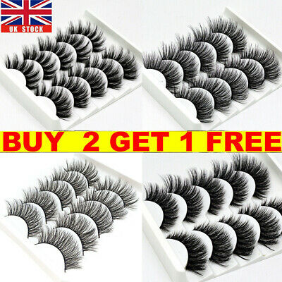 5 Pairs False Eyelashes Long Thick Natural Fake Eye Lashes Set Mink Makeup UK • 3.49£