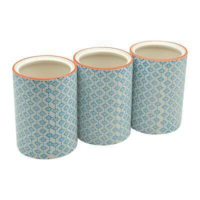 AU37.95 • Buy Kitchen Utensil Holder Pot Porcelain Kitchen Storage Blue Print Design X3