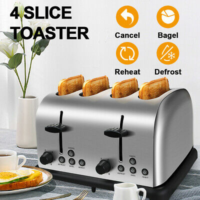 AU59.99 • Buy 4 Slice Toaster Stainless Steel Automatic Toaster Extra Wide Slots Crumb Tray