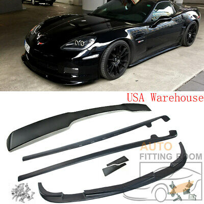 ZR1 Style Front Lip + Side Skirts + Rear Spoiler For Corvette C6 BASE 2005-2013 • 379.99$