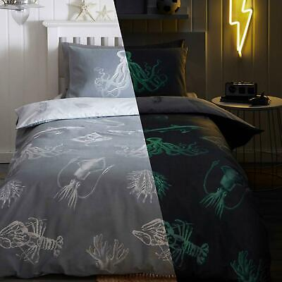 Grey Duvet Covers Glow In The Dark Sea Life Creature Quilt Cover Bedding Sets • 18.95£