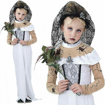 Girls Ghost Zombie Corpse Bride Fancy Dress Up Halloween  Kids Costume • 12.49£