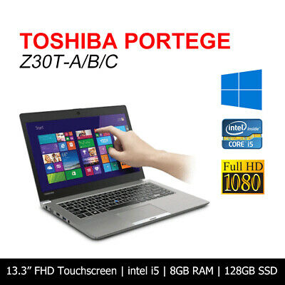 AU379.95 • Buy Toshiba Portege Z30T Intel Core I5 8GB 128GB SSD 13.3  Touchscreen Laptop Win10