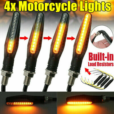 4X Universal 12 LED Motorcycle Motorbike Flow Turn Signal Lights Indicators Lamp • 5.99£