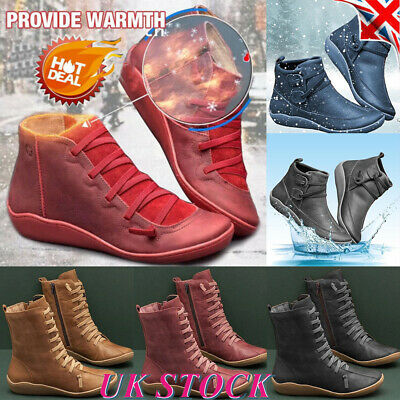Womens Arch Support Comfort Ankle Boots Retro Lace Up Casual Flats Shoes Size UK • 12.94£
