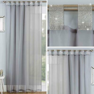 Grey Voile Curtain Panels Diamante Sparkle Bling Sheer Tab Top Voiles Curtains • 12.95£