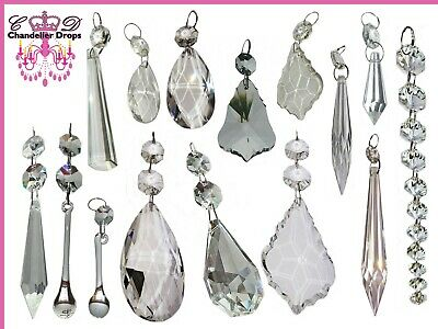 £2.50 • Buy Clear Cut Glass Crystals Beads Chandelier Spare Light Parts Prisms Bling Drops