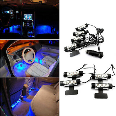 $3.99 • Buy 4X 12 LED Car Floor Interior Decor Atmosphere Blue Light Charge Accessories Lamp