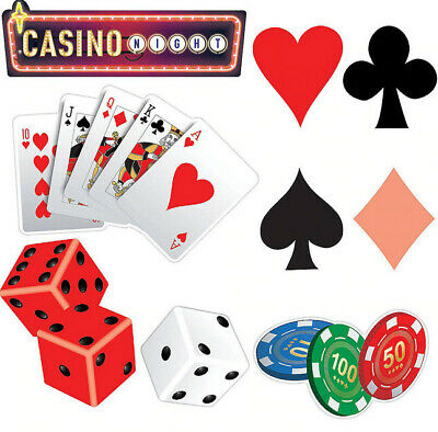 $8.50 • Buy Roll The Dice Casino Cutouts 30pcs Gambling Decorations Chips Texas Holdem Cards