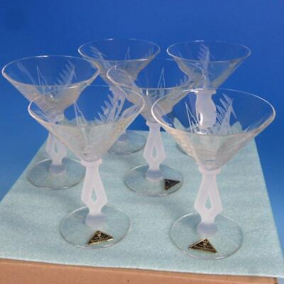 6 Rare Morgantown Glass Art Moderne Arctic Etching Frosted Base Champagne Glass • 850$