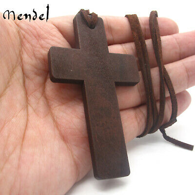 $8.99 • Buy MENDEL Mens Christian Amulet Protection Large Wooden Wood Cross Pendant Necklace