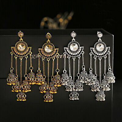 AU4.61 • Buy Vintage Hook Ethnic Tassel Bells Dangle Gypsy Wedding Jhumka Indian Earrings