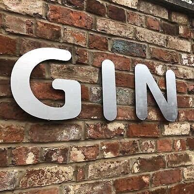 £35.99 • Buy GIN Lettering Letters GALVANIZED Metal Shop Bar Cafe Sign Rustic Drinks & Tonic