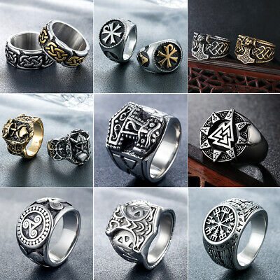 AU5.99 • Buy Mens Stainless Steel Nordic Viking Rings Rock Punk Band Ring Biker Jewelry