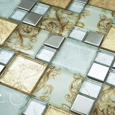 £2.90 • Buy Onyx Gold Vintage Mix Squares Mosaic Tiles Sheet For Wall Floor Bathrooms