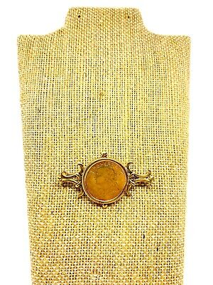 $599 • Buy Antique 1920's 10k Yellow Gold Swiss Franc Coin Brooch