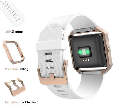 AU38.70 • Buy For Fitbit Blaze Band Silicone Replacement White Strap W/ Rose Gold Frame Watch