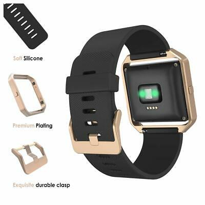 AU45.53 • Buy For Fitbit Blaze Band Silicone Replacement Black Strap Rose Gold Frame Watch AU