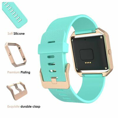 AU38.70 • Buy For Fitbit Blaze Band Silicone Replacement Turquoise Strap Rose Gold Frame Watch