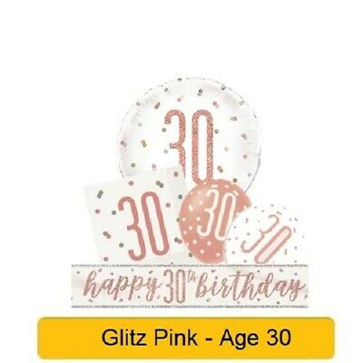 £2.15 • Buy *NEW ROSE GOLD GLITZ* Age 30 - Happy 30th Birthday - Party Supplies Decorations