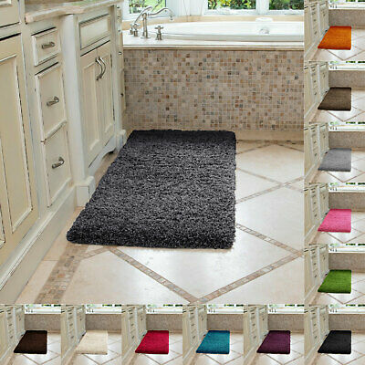 Large Washable Bath Mat Soft Thick Shaggy Rugs Runners For Bathroom Shower Rug • 16.49£