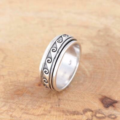 Mens Womens Plain 925 Sterling Silver Wave Spinning Worry Band Thumb Ring 8mm • 25.95£