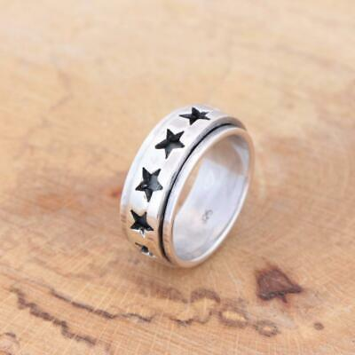 Mens Womens Plain 925 Sterling Silver Star Spinning Worry Band Ring 9mm • 24.45£