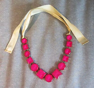 $ CDN250 • Buy 15.5  Kate Spade Newyork Hot Pink Large Chunky Glass Statement Necklace Classy
