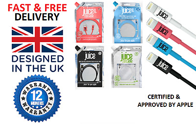 Juice Lightning USB Cable Charger Lead Sync Apple IPhone IPad IPod 1m 2m 3m NEW • 16.75£