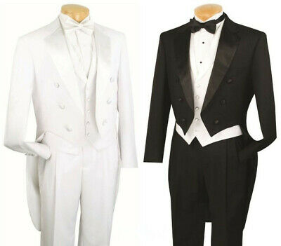 £67.06 • Buy Men's Formal Tuxedo Prom Wedding Groom Suit Classic Fit With Tail Black & White