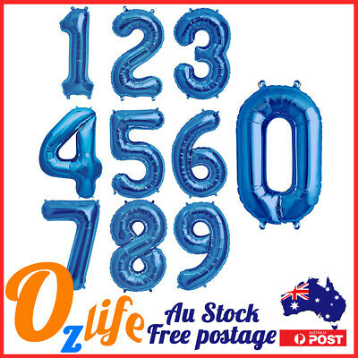 AU4.80 • Buy 42  Blue Jumbo Numbers Foil Balloon Air Inflatable Birthday Party Decorations