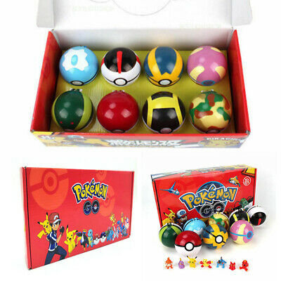 2.8'' 8Pcs Pokeball Ball Set Pokemon GO Action Figures Christmas Toy Gift NEW • 12.23£