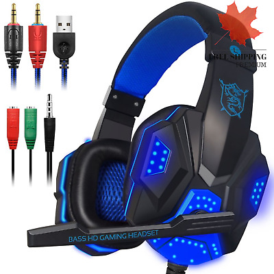$ CDN17.97 • Buy Gaming Headset With Mic And LED Light For Laptop Computer Cellphone PS4 And T...