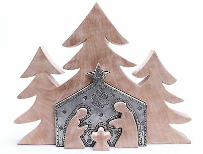 Wooden Cut Out Nativity In Christmas Tree Scene 33cm • 15.99£