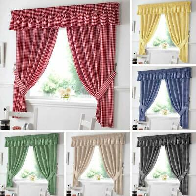 £16.95 • Buy Gingham Check Kitchen Curtains Ready Made Pairs | Curtains | Pelmets | Seat Pads