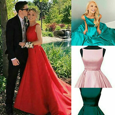 £63.72 • Buy Vintage Long Formal Evening Bridesmaid Dresses Satin Prom Ball Gown With Pockets