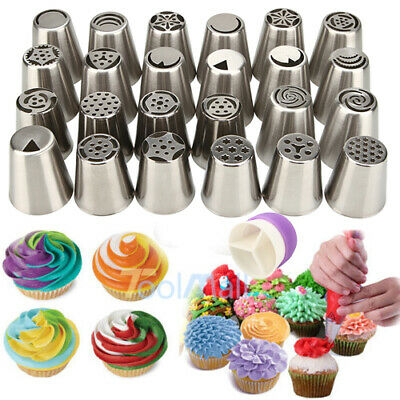 $11.99 • Buy 24 Pcs Russian Flower Icing Piping Nozzles Cake Decoration Tips Baking Tools Kit