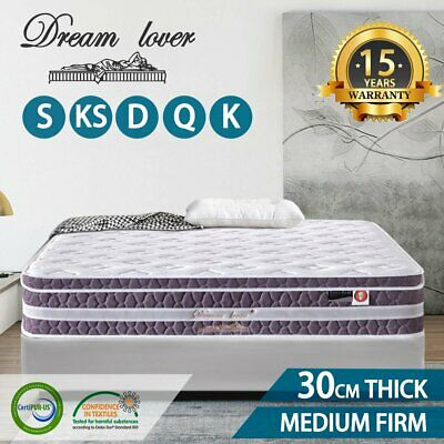 AU219 • Buy QUEEN KING SINGLE DOUBLE Dream Lover Bedding Mattress Euro Top Pocket Spring