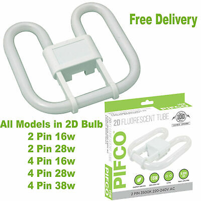 £6.45 • Buy 2D 2 Pin 4 Pin 16W 28W 38W Compact Fluorescent Energy Saving Bulb In 3500K White