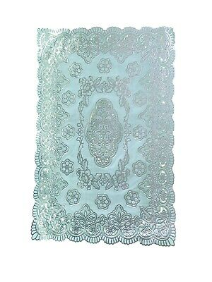 Silver Rectangle Lace Effect Table Place Mat Home Christmas Weddings Table Decor • 2.89£