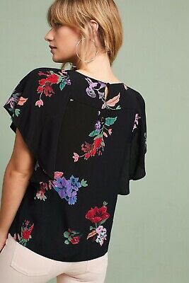 $ CDN38.32 • Buy Anthropologie Size Small Black Prato Floral Flutter Flounce Sleeve Tee Blouse